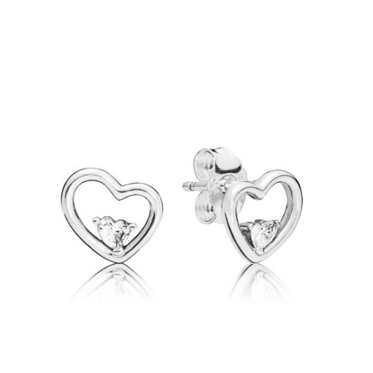 LXBOUTIQUE - Brincos PANDORA Asymmetric Hearts of Love 297813CZ