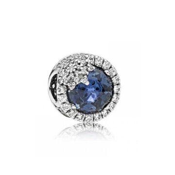 LXBOUTIQUE - Conta PANDORA Botão Floco de Neve Azul 796358NTB