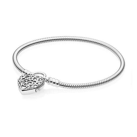 LXBOUTIQUE - Pulseira PANDORA Fecho Cadeado Coração Real 597602
