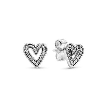 LXBOUTIQUE - Brincos PANDORA Sparkling Freehand Heart 298685C01